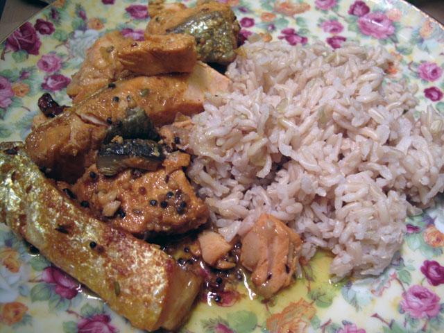 Salmon in Bengali Mustard Sauce with Rice   updownacross